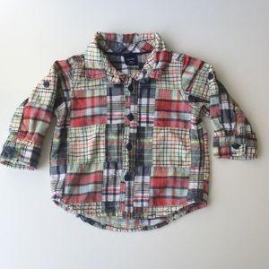 Gap Baby Madras Shirt Boys 6-12 mo. | Roll Tab